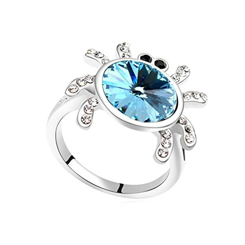 Epinki Gold Plated Ring, Womens Wedding Bands Ocean Blue Magic Spider Ring Size 7 ()