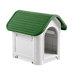 4566 Caseta en forma de casa para perro PROLABZOO con toma de aire 59.2x66x63 cm – Verde