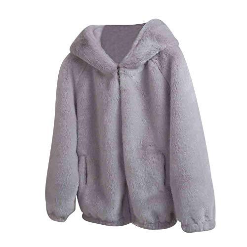Outwear Encapuchado Grueso Cardigan Prendas Las Mujer Informal Abrigo Chaqueta Sólido Cálido Señoras Suelta Gris Parka Caps Escudo Invierno De Ozq1tt