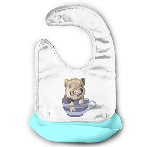 Teacup Pig Sky Blue Lovely Baby Bandana Drool Bibs, Unisex Burp Cloths for Drooling and Teething - for Boys and Girls