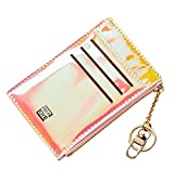 Yogwoo Card Holder for Women Slim Minimalist Wallets Girl Holographic Leather Purse Zipper Pocket 8 Cards Coin Cute Gift Bling Pink