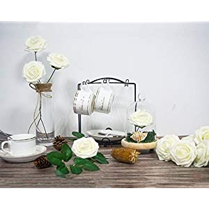 JaosWish 25PCS Real Touch Artificial Roses Fake Flowers with Stem DIY for Wedding Bouquets Baby Shower Party Home Decorations 4
