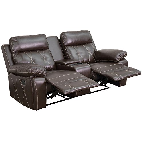 Flash Furniture Reel Comfort Series 2-Seat Recliner Brown Leather (Large Image)