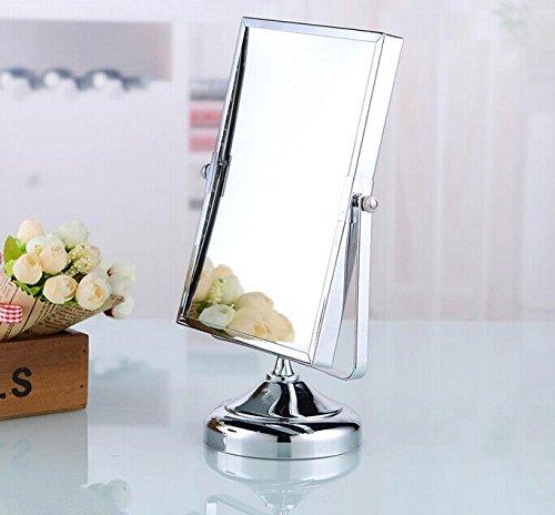 Hiendure/® Wundersch/öner Messing Kosmetikspiegel mit 2 Seiten 3-fach Vergr/ö/ßerung Hohe Qualit/ät Rechteck Standspiegel