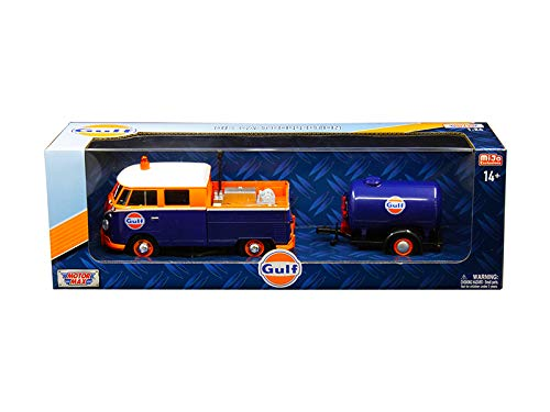 Volkswagen Service Pickup Truck with Plastic Oil Tank Gulf Oil 1/24 Diecast Model Car by Motormax ()