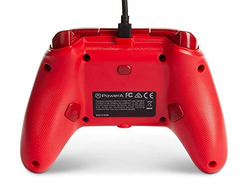 PowerA Enhanced Wired Controller para Xbox - Rojo, Gamepad, Controlador de videojuegos con cable, Controlador de juegos, Xbox Series X   S, Xbox One - Xbox Series X