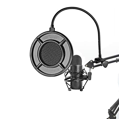 Microphone Pop Filter Double Nylon layer Microphone Pop Windscreen with A Flexible 360° Gooseneck Clip Stabilizing Arm Fit Blue Yeti and Any Other Microphone
