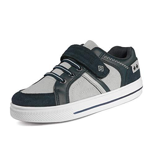 DREAM PAIRS Little Kid Boys' 151014-K Navy Grey School Loafers Sneakers Shoes Size 13 M US Little Kid