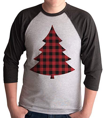 7 at 9 Apparel Mens Plaid Tree Christmas Raglan Tee