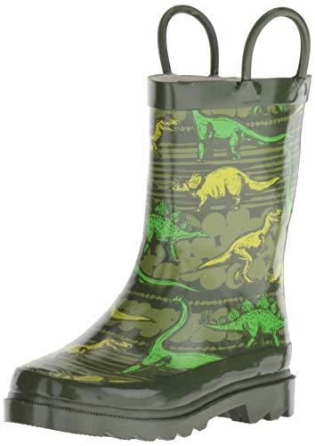Western Chief Boys Kid's Waterproof Printed Rain Boot, Dino Quest, 7/8 M US Toddler ()