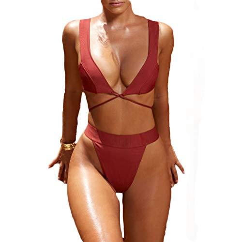 Womens Strappy Criss Cross V Neck Bikini Set High Cut Bikini Bottom G-String 2 Piece Swimsuit (M, Red) -