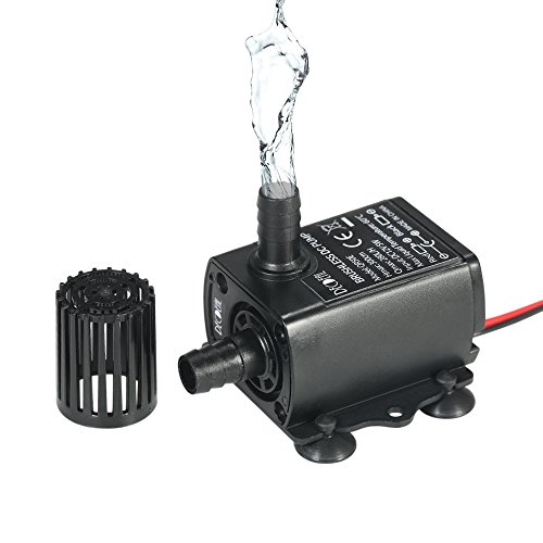 Decdeal Submersible Water Pump DC 12V 5W Ultra-quiet Pump for Pond, Aquarium, 280L/H Lift 300cm
