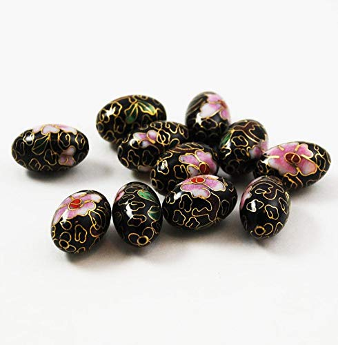 Unique Selection Beads - Black Cloisonne Oval Beads Chinese 18 x 12mm (6) Vintage