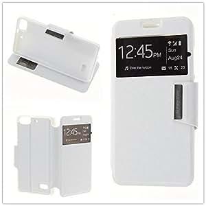 Funda Cuero Piel Blanca para LG Optimus L5 E610 E612 Blanco con Soporte e Identificador de Llamada