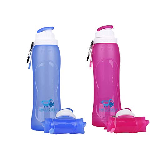 Shelf2Self Silicone Water Bottles - Collapsible Travel Bottles - 500 ml Compact Water Flask - Foldable Lightweight Bottles for Camping, Hiking & Sports - Silicone & Wide Mouth Design]()