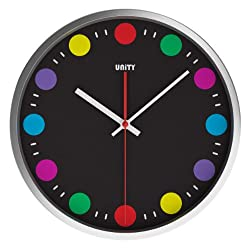 Unity Podmore Stainless Steel Silent Sweep Non-Ticking Colorful Wall Clock, 12-Inch