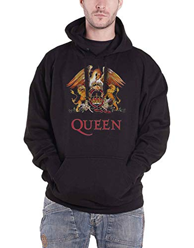 Queen Hoodie Classic Crest Band Logo Official Mens Black Pullover Size XL