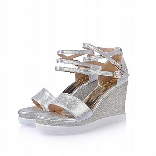 Carolbar Donna Moda Da Sera Multi Moda Fibbia Piattaforma Open Toe Vestito Zeppe Sandali Dargento