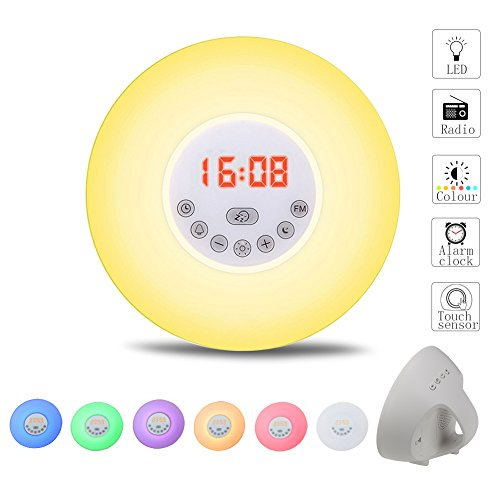SCOMAS Digital Wake up Light, Sunrise Alarm Clock, Night Light Bedside Lamp with Natural Sounds, FM Radio and Touch Control