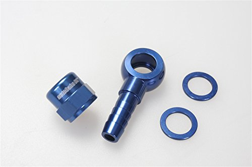 Autobahn88 Aluminum Fuel Banjo Adapter - M12 12mm Banjo to Barb Adapter Kit Set with Washer and Cap, Designed for Bosch 044 Fuel Pump, (Fuel Cap Adapter Set)