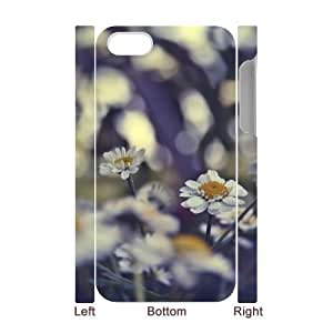 3D Yearinspace Bokeh Flowers IPhone 4/4s Case Daisies Bokeh Cute for Girls, Iphone 4 Cases for Teen Girls Cute for Girls [White]