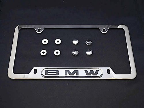 BMW License Plate Frame POLISHED Steel OEM e30 e32 e34 e36 e38 e39 e46 e90 ()
