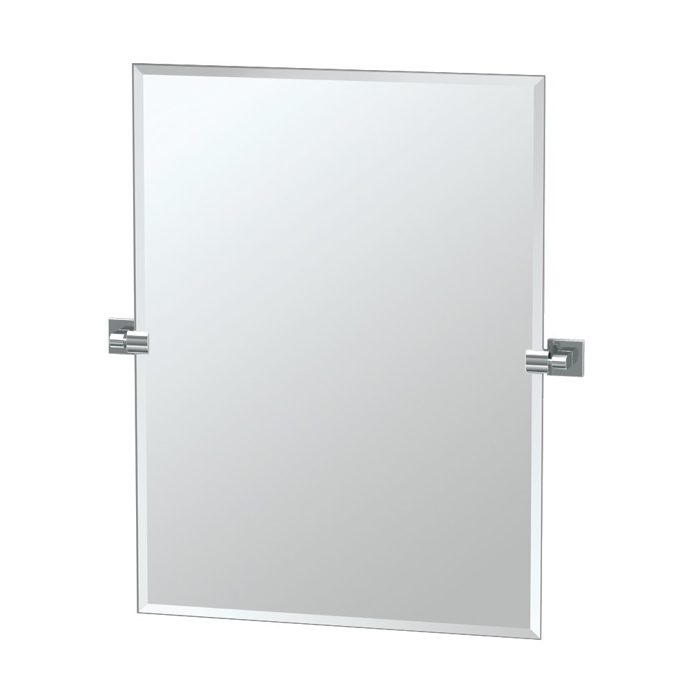 "Gatco 4059S Elevate Frameless Rectangle Mirror, Chrome, 31.5""H"