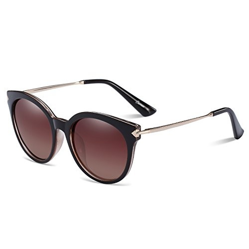 CAXMAN Women's Cateye Frame Retro Style Polarized Sunglasses Mirror Lenses (Brown Lens/Dark Brown Frame, - Lady Gaga Cat Sunglasses Eye