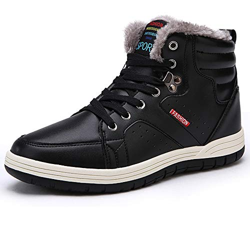 High Top Bike Sock - Aliwendy Mens Winter Snow Boots Fur Lined Warm Ankle Booties Waterproof Slip-on Sneakers Lightweight High Top Outdoor Shoes (Black 10D(M) US)