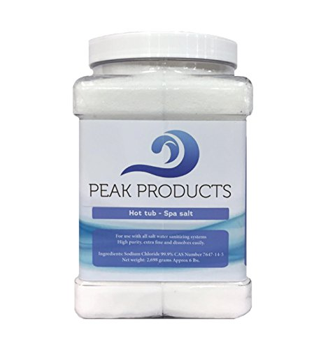 (Peak Products Hot Tub Salt and Spa Salt for All Salt Water Sanitizing Systems and Chlorine Generators Including Hotspring, Jacuzzi, Caldera, and Chloromatic - 6 Pounds)