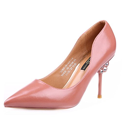 36 Heels Rhinestones Spring Of With Coat Mouth A Work Lady High Shallow Pink 9Cm With Leisure Paint Shoes MDRW Fine Elegant ZwqRxIOI60