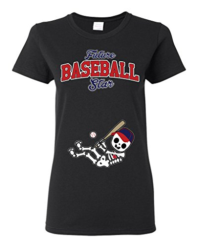 Future Baseball Star Atlanta Baby Fan Sports Ball Ladies DT T-Shirt Tee (XXX-Large, Black)