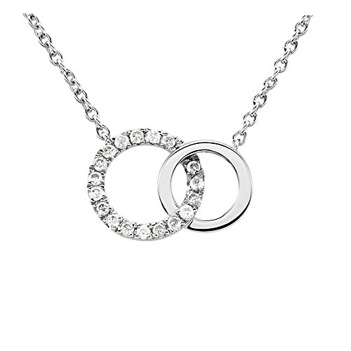 .06 Ctw (H-I, I1) Diamond Double Circle Necklace in 14K White Gold, 18 Inch