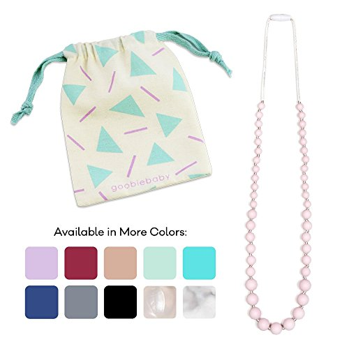 Goobie Baby Audrey Silicone Teething Necklace for Mom to Wear, 100% Safe Silicone (Teething Necklace, Pink Quartz)