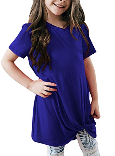 GOSOPIN Girls Casual Short Sleeve Knot Front T-Shirts Loose Tunic Tops 4-13Y XX-Large Navy Blue ()