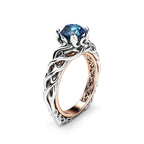 Blue Diamond Engagement Ring Solitaire Braided Ring 18K Two Tone Gold Celtic Ring Anniversary - Ring Tone 18k