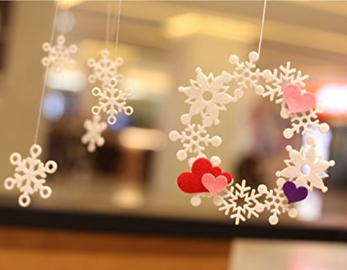 YCT Snowflake wreath, suitable for Christmas and new year, shopping mall, window, Party decoration. (love)