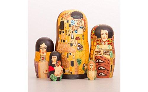 Matryoshka 5pcs Klimt Wooden Russian Nesting Dolls. Gift Matreshka, Handmade Babushka Doll