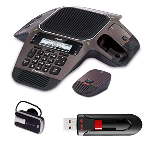 VTech VCS754 ErisStation Conference Phone with 4 Wireless Microphones VoIP and Device Includes iEssentials FP1 Bluetooth Headset and SanDisk Cruzer Glide 16GB USB Flash Drive