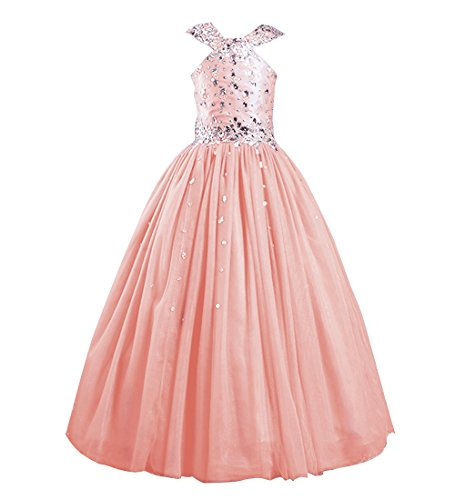 Yucou Beading Sequins Long Flower Girl Dress Ball Gown Girls First Communion Dress Pageant Gowns Blush,Size 12