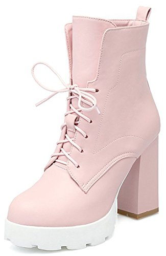 Easemax Women's Dressy Round Toe Lace Up Block High Heeled Platform Ankle Booties Pink QiF0F