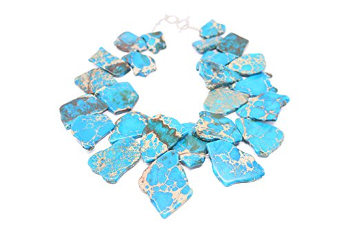 LovelyBead Free Form Slab Sea Sediment Jasper Necklace (Blue)