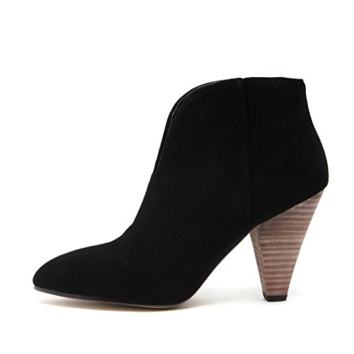 ROLISA Women's Suede V-Shaped Vamp Cone Heels Ankle Boots (7.5 B(M) US, - Victoria Height Beckham
