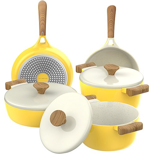 Vremi 8 Piece Ceramic Nonstick Cookware Set - Induction Stovetop Compatible Dishwasher Safe Non Stick Pots with Lids and Frying Pans - Dutch Oven Pot Fry Pan Sets for Serving - PTFE PFOA Free - Yellow