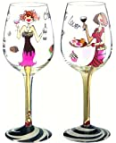 Bottom's Up 15-Ounce Chocolate and Wine Make Everything Fine Handpainted Wine Glass