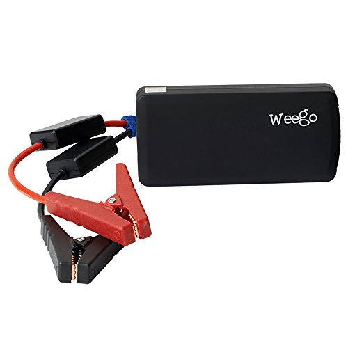 WEEGO JS12 Jump Starter 1400 Peak 400 Cranking Amps Basic Lithium Ion Power Pack USB Charging 100 Lumen LED Flashlight