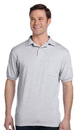 Blend Ash Shirt (Hanes Men's Cotton-Blend EcoSmart Jersey Polo with Pocket,Ash,XXX-Large)