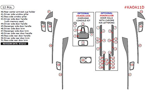 Car Interior Flat Overlay Kit By WOW Trim, Item# KAOA11D-RCF Kia Optima, Addition To Main Kit, 12 Piece Set, Real Carbon Fiber