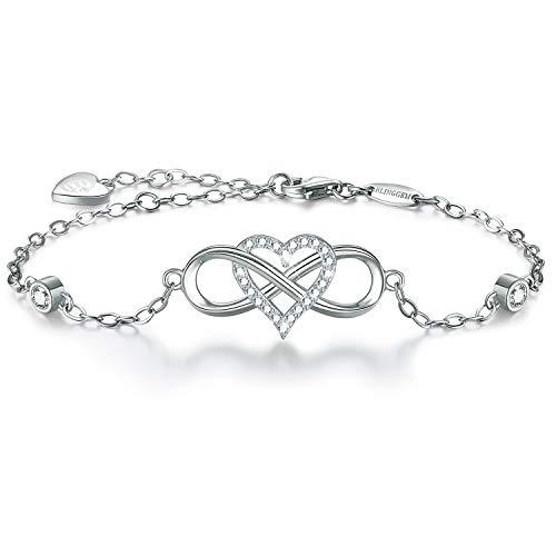 - BlingGem 18K White Gold-Plated 925 Sterling Silver Cubic Zirconia Infinity Heart Bracelet for Women