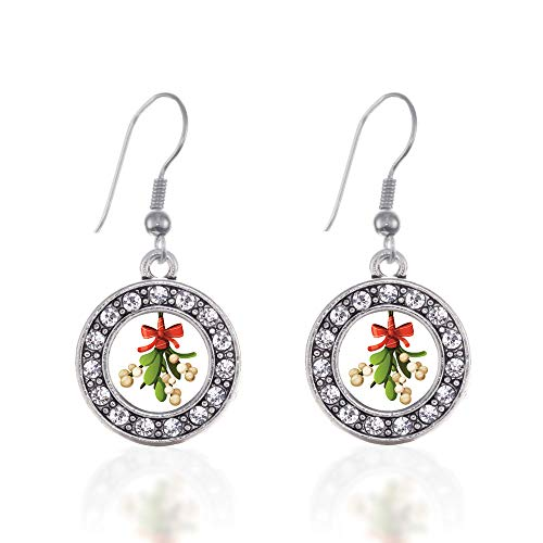 Inspired Silver - Mistletoe Charm Earrings for Women - Silver Circle Charm French Hook Drop Earrings with Cubic Zirconia ()